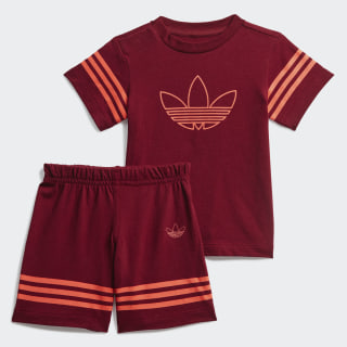 Outline Shorts und T-Shirt Set Collegiate Burgundy / App Solar Red FM4448