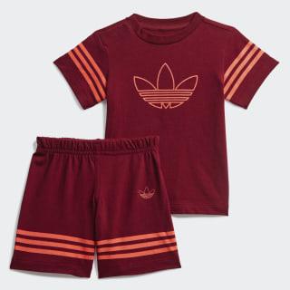Outline T-shirt en Short Setje Collegiate Burgundy / App Solar Red FM4448