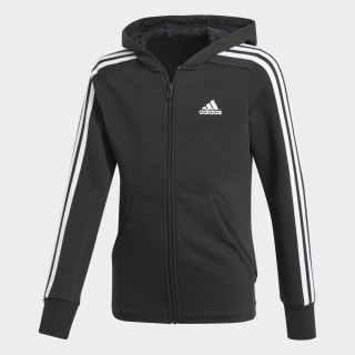 เสื้อฮู้ด Essentials 3-Stripes Black / White / White BP8622