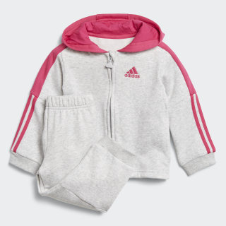Logo Hooded Fleece joggingdragt Light Grey Heather / Real Magenta DJ1588