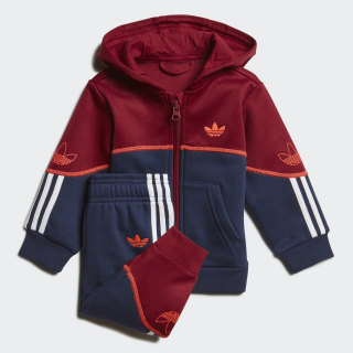 Outline Hoodie Set Collegiate Burgundy / Night Indigo / White FM4449