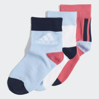 Ankle Socks 3 Pairs Real Pink / White / Glow Blue ED8618