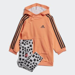 Комплект: платье и леггинсы Hooded Dress Semi Coral / Black ED1154