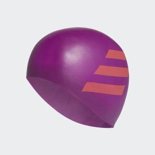 3-Stripes Silicone Swim Cap Glory Purple / App Solar Red FJ4974