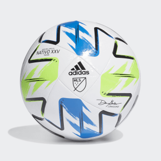 MLS Nativo XXV Training Ball White / Solar Green / Glory Blue / Silver Metallic FH7315