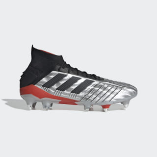 Calzado de Fútbol Predator 19.1 Terreno Suave Silver Metallic / Core Black / Hi-Res Red F99986