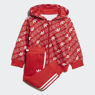 Conjunto Trefoil Monogram Hooded Collegiate Red / White DJ2700