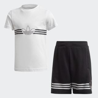 Conjunto Polo y Shorts Outline Top:white/black Bottom:BLACK/WHITE ED7766
