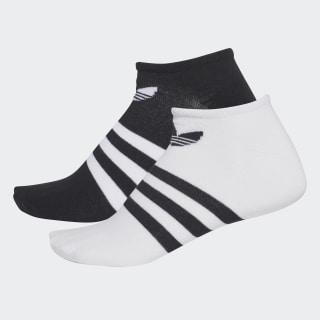 Trefoil Liner Socks 2 Pairs Black / White CE5730