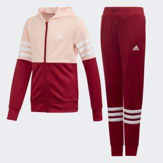 Hooded Tracksuit Glow Pink / Active Maroon / White ED4639