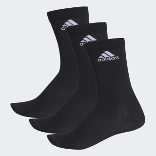 Performance Thin Crew Socks 3 Pairs Black / Black / White AA2330
