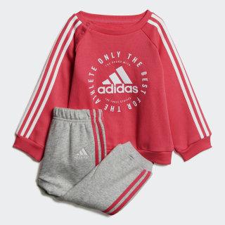 Fleece 3-Streifen Jogginganzug Semi Solar Pink / White DV1284