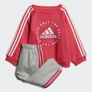 Fleece 3-Stripes Jogger Set Semi Solar Pink / White DV1284