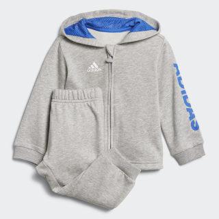 Conjunto Linear Hooded Medium Grey Heather / Blue / White DJ1582
