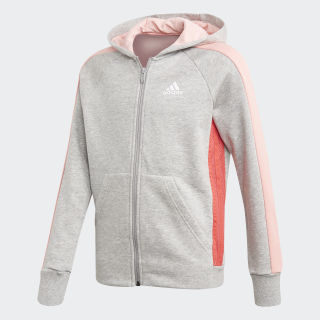 Mikina skapucňou adidas Athletics Club Medium Grey Heather / Core Pink FL1782