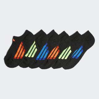 Vertical Stripe No Show Socks 6 Pairs Black BH9780