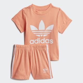 Trefoil Shorts und T-Shirt Set Chalk Coral / White FM5597
