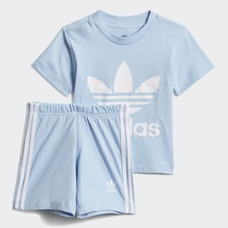 Conjunto camiseta y pantalón corto Trefoil Clear Sky / White DV2808