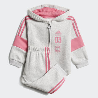 Fleece Jogginganzug Light Grey Heather / Semi Solar Pink DV1275