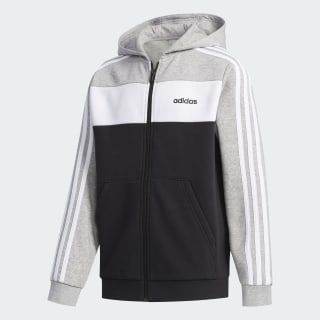Campera Deportiva con capucha Colorblock Medium Grey Heather / White / Black FM0773