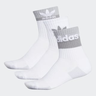 Double Blocked Cuff High Socks 3 Pairs White CL5004