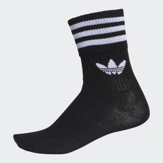 Mid-Cut Crew Socks 3 Pairs Black / White DX9092