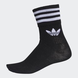 Mid-Cut Crew Socks 3 Pairs Black / White DX9092