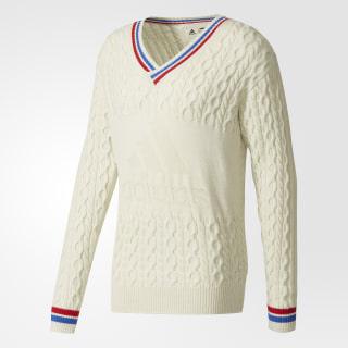 Hommes Pharrell Williams NY Cable V-neck Sweater Chalk White/Blue/Scarlet BR8977