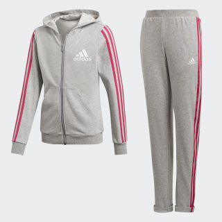 Hooded Tracksuit Medium Grey Heather / Real Magenta / White DV0839