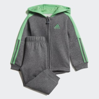Logo Hooded Fleece joggingdragt Dark Grey Heather / Energy Green DJ1587