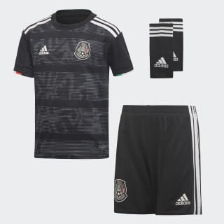 Conjunto Mini Uniforme Titular Selección de México 2019 Niño top:black/white bottom:black/white DP0210