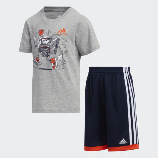 Graphic Cotton Shorts Set Grey CM6972