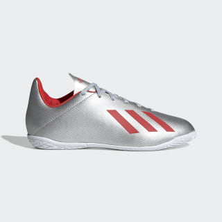 Chuteira X 19.4 - Futsal Silver Metallic / Hi-Res Red / Cloud White F35351