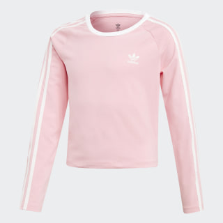 Укороченный лонгслив 3-Stripes light pink / white DW9299