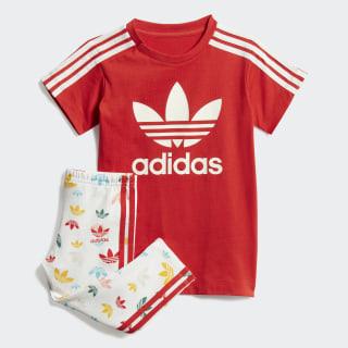 T-Shirt-Kleid-Set Lush Red / White FM6726