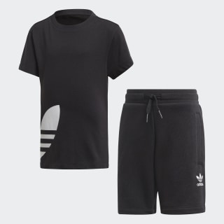 Big Trefoil Shorts und T-Shirt Set Black / White FM5617