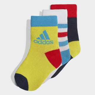 Ankle Socks 3 Pairs White / Collegiate Navy / Shock Yellow DW4756