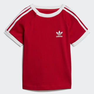 Playera 3 Stripes scarlet/white ED7687