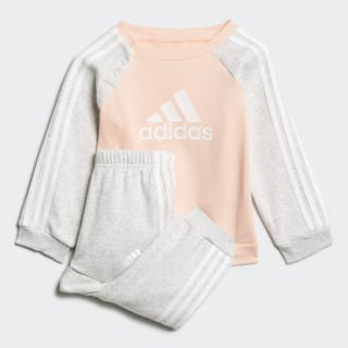 Logo Fleece Jogger Set Glow Pink / Light Grey Heather / White ED1179