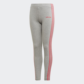 Calça Legging Essentials 3-Stripes Medium Grey Heather / Real Pink EH6163