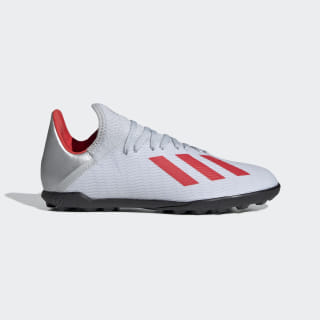 Calzado de Fútbol X 19.3 Césped Artificial Silver Metallic / Hi-Res Red / Cloud White F35358