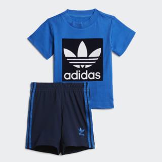 Conjunto de camiseta y pantalón corto Bluebird / Collegiate Navy / White ED7678