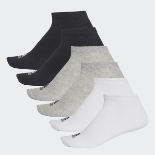No-Show Socks 6 Pairs Black / Medium Grey Heather / White AA2310