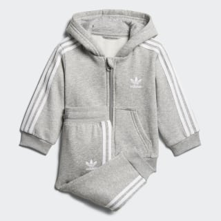 Track Suit Trefoil Full Zip Hoodie Medium Grey Heather / White D96097