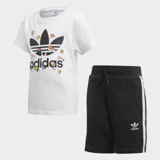 Conjunto de camiseta y pantalón corto White / Multicolor / Black FT8768