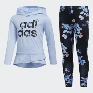 Hoodie and Printed Tights Set Light Blue CM0375