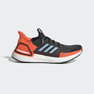 Tenis Ultraboost 19 Core Black / Glow Blue / Hi-Res Coral G27482