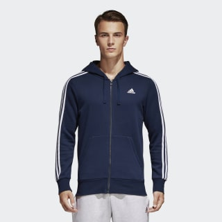 Essentials 3-Stripes Fleece Hoodie collegiate navy / white S98791