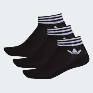 Trefoil Ankle Socks 3 Pairs Black / White EE1151