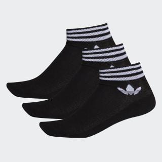Trefoil Ankle Socks Black / White EE1151